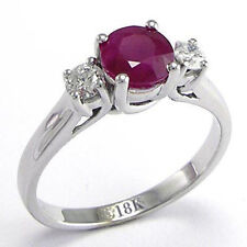 18k Gold Ruby Diamond Three Stone Anniversary Ring in Sizes 4 to 9.5 #R658