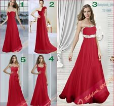 2014 New Long Dark Red Chiffon Evening Party Gowns Prom Bridesmaids Dresses 6-26