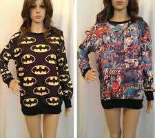 Ladies Oversized Baggy Slouch Comic Strip Superman Batman Jumper Sweater Logo