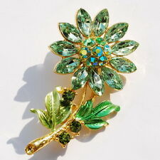 Beautiful Clear Multi-color Crystal Charms SUN Flower & Leaves Gold Brooch Pins