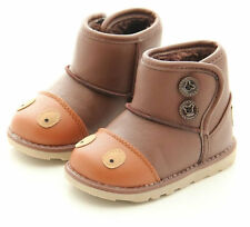 Boy & Girl Faux Leather Sheepskin Boots Shoes (Kids Toddlers Youth Size US 5-12)