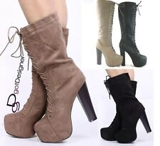 NEW Women's Fashion Shoes Knee High Mid Calf Boots Lace Up High Heels Pumps Sexy