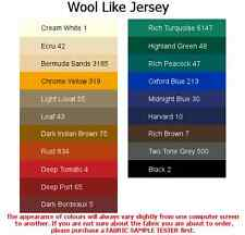 Wool Like Jersey fabric (4x5cm sample colour testers & per metre purchasing)