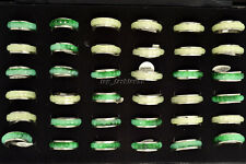 Wholesale Lots Jewelry Resale Imitation Jade Rotatable Stainless Steel Rings New
