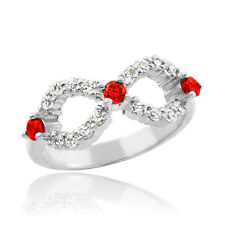 White Gold Infinity Birthstone CZ Ring Size 6 Available in all 12 Months
