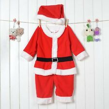 Baby Kids Boy Girl Christmas Party Santas Costume Romper Outfit+Hat Set TYT012