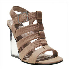 Women's Qupid Taupe Strappy Snake Lucite Wedge (Burton02)