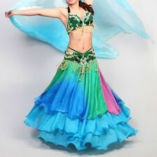 Belly Dance Costume Gradient Silk-like 3 Layers Flamenco Skirt 8 Colors