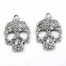Antique Silver Skull Shaped Charms 20 Pcs Pendants Jewelry Finding 24mm