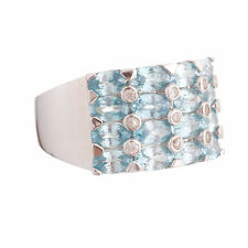 Womens Sparkling Blue Zircon White Topaz 6.50ctw Band Ring Sterling Silver