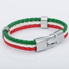 Mens Womens Italian Italy Flag Braided Rope Man-made Leather Bracelet Wristband