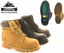 Mens GROUNDWORK Leather Steel Toe Cap Safety Work Boots Safety Shoes Lace Up