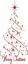 XL Merry Christmas Tree Stars Decoration Free Squeegee! Wall Art Decal Sticker