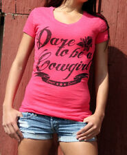 ORIGINAL COWGIRL 'DARE TO BE A COWGIRL' BURNOUT FITTED T-SHIRT