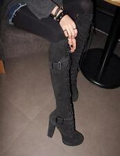 Women's IN COMBATY LACE BUCKLE STRAP WINTER KNEE HIGH HIGH HEELS LEATHER BOOTS