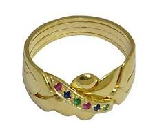 4 BAND PUZZLE RING 18K YELLOW GOLD OVER STERLING SILVER Multi Color  #2579-GM