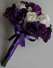 Diamante Crystal Wedding Ivory Rose Flower Lisianthus Brides Handtied Bouquet