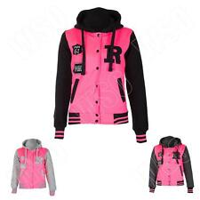 New Womens Ladies Varsity R Pink Baseball Jacket Hoodie Size S M L XL 8 10 12 14