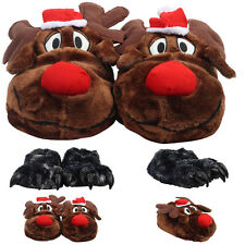 NEW MENS ANIMAL NOVELTY FURRY CHRISTMAS XMAS GIFT FUNNY PLUSH SLIPPERS SIZE S-L