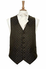 MENS CHRISTMAS NEW YEARS EVE PARTY BLACK GOLD DIAMOND CRUISE DRESS WAISTCOAT