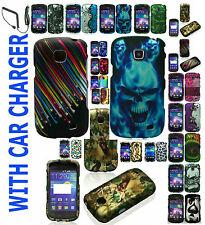 Car Charger+Rubber Feel Hard Case For Samsung Galaxy Proclaim SCH-S720C Phone