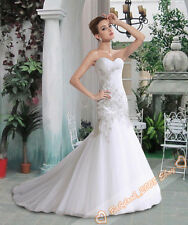 Sexy Chic Mermaid White/Ivory Wedding Gowns Bridal Dresses Size 6-18 custom size