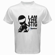 New I Am The Stig Top Gear Automotive Tv Show Men's White T-Shirt Size S to 3XL