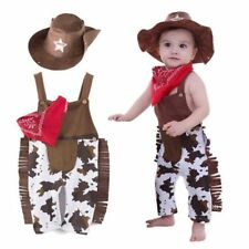 Baby Boy Girl Cowboy Western Halloween Costume Fancy Dress Outfit+Hat Set 3-18M