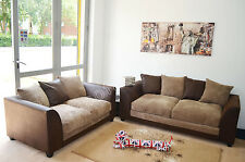 New Dylan Fabric Jumbo Cord Brown & Beige Sofa in Corners and 3+2+1 Seaters