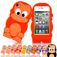 3D Cute Monkey Cartoon Silicone Gel Rubber Soft Case Cover For Apple iPhone 4 4S