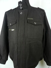 Mens ROCAWEAR Wool-Blend Military Style Jacket Chocolate Brown Coat 3XL NWT
