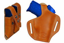 NEW Barsony Tan Leather Pancake Holster+Dbl Mag Pouch Beretta, Kahr Comp 9mm 40