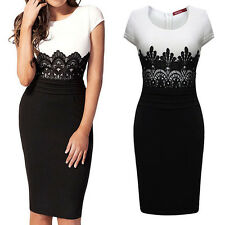 Fashion Womens Celeb Cap Sleeve Lace Contrast Evening Pencil Midi Bodycon Dress