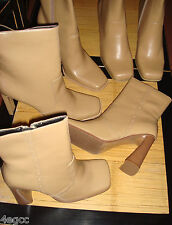 WOMENS LADIES BOOTS MID CALF 4'' HEEL SYNTHETIC LEATHER CAMEL LINED SIZE 3 & 7