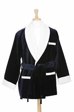 Smoking Jacket - Navy Velvet Textured - Cream Quilted Color