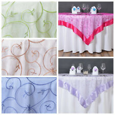 """6 pcs 60x60"""" Embroidered Sheer Organza Table OVERLAY Wedding Party Decorations"""
