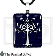 White Tree Gondor LOTR ROTK Lord Rings Hobbit Tolkien Key Chain Pendant Necklace