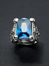 HUGE BLUE TOPAZ CLAW & AXE DRAGON 925 STERLING SILVER MENS RING Sz 6.5-16.5