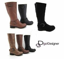 NEW Women's Shoes Riding Knee High Motorcycle Boots Fashion Slouch Military Cool