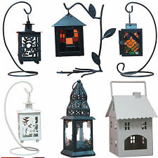 Retro Art Decor Wedding Party Metal Hanging Tabletop Candle Stand Holder Lantern