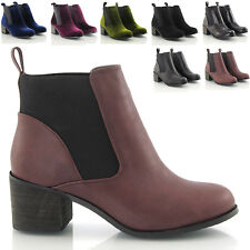 WOMENS CHELSEA ELASTICATED BLOCK HEEL LADIES PULL ON ANKLE BOOTS SHOES SIZE 3-8