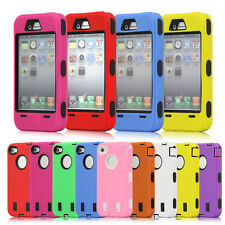 iPhone 4 4S Dual Hybrid Rugged Body Armor Defender Hard Back Case 9 Colors