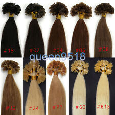 "18""20""22""100S U/Nail Kertain Tip Straight Remy Human Hair Extensions Pick Color"