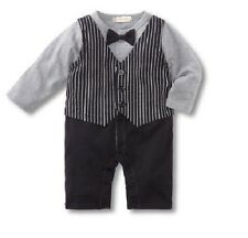 Baby Boy Long Sleeve Formal Tuxedo One-Piece Romper Suit with Vest SIZE 000 or 0