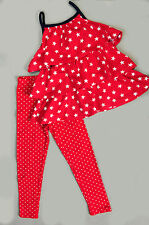 Carters little girls 4th of July 4T 5T ruffled summer sun dress leggings set red