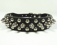 Spiked Studded Rivets Black PU Leather Dog Collar Pet Collar Size XS S M L