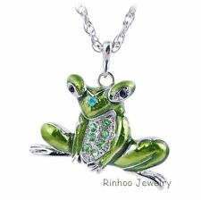 Hot Sale Fashion Jumpping Frog Silver Plated Long Chain Pendant Necklace Gift