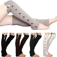 Womens Knee High Knit Flat Button Crochet Lace Trim Leg Warmers Boot Socks 5477