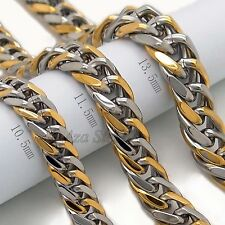 "MENS 10.5/11.5/13.5mm Silver Gold Curb Stainless Steel Chain Necklace 20""-30"""