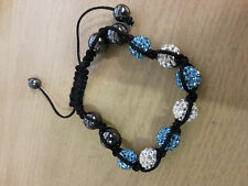 Turqueise and white Shamballa Bracelet Czech Crystal Disco Clay Ball Shambala.